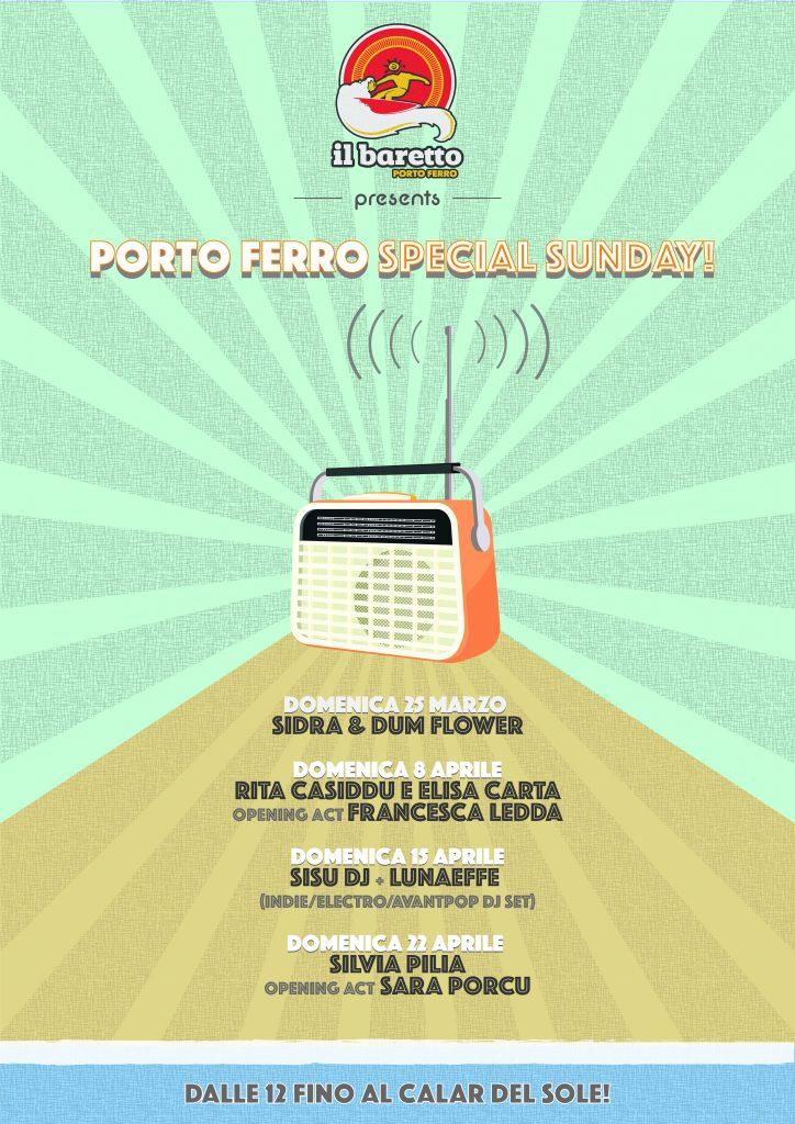 Locandina A3 Porto Ferro Special Sunday Marzo- Aprile 2018